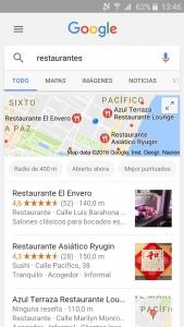 Resultados búsqueda Google Maps Móvil