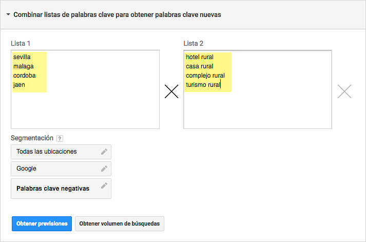 Combinar listas de Keywords Planner en Google AdWords