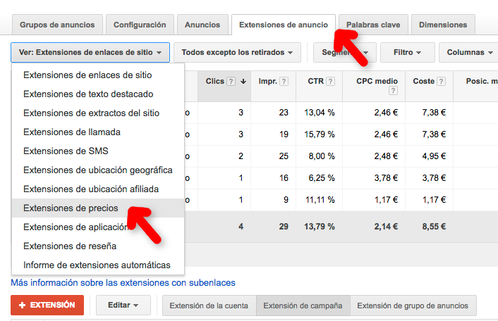 elegir extension en google adwords