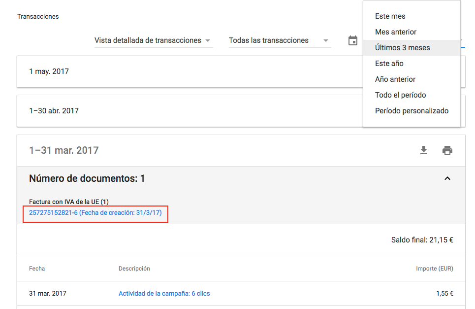 descargar factura de adwords