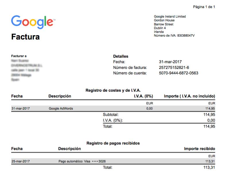 factura de google adwords