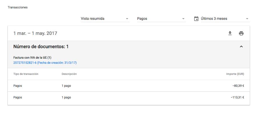 transacciones facturación google adwords