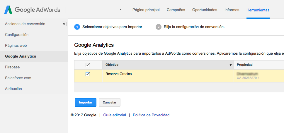 importar objetivos de analytics en google adwords