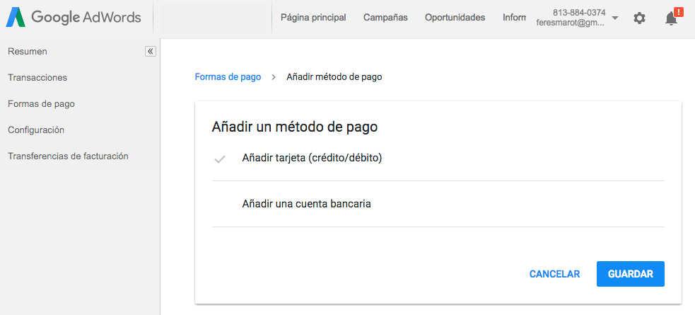 metodos de pago en google adwords