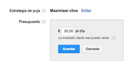 presupuesto diario google adwords