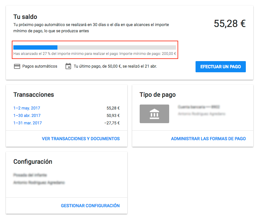 resumen de pagos google adwords