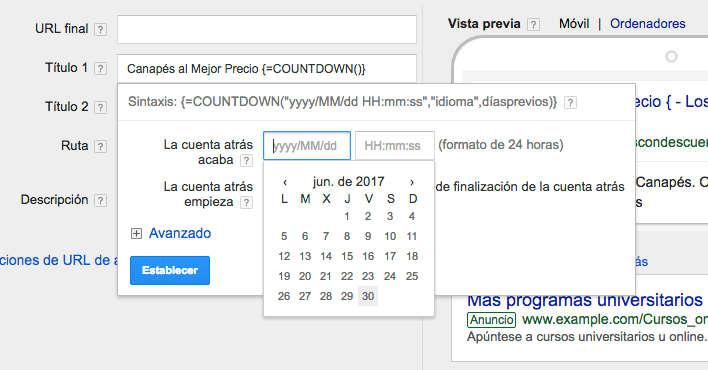 anuncios google adwords cuenta atrás