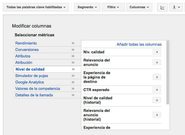 QS columna niveles de calidad en google adwords