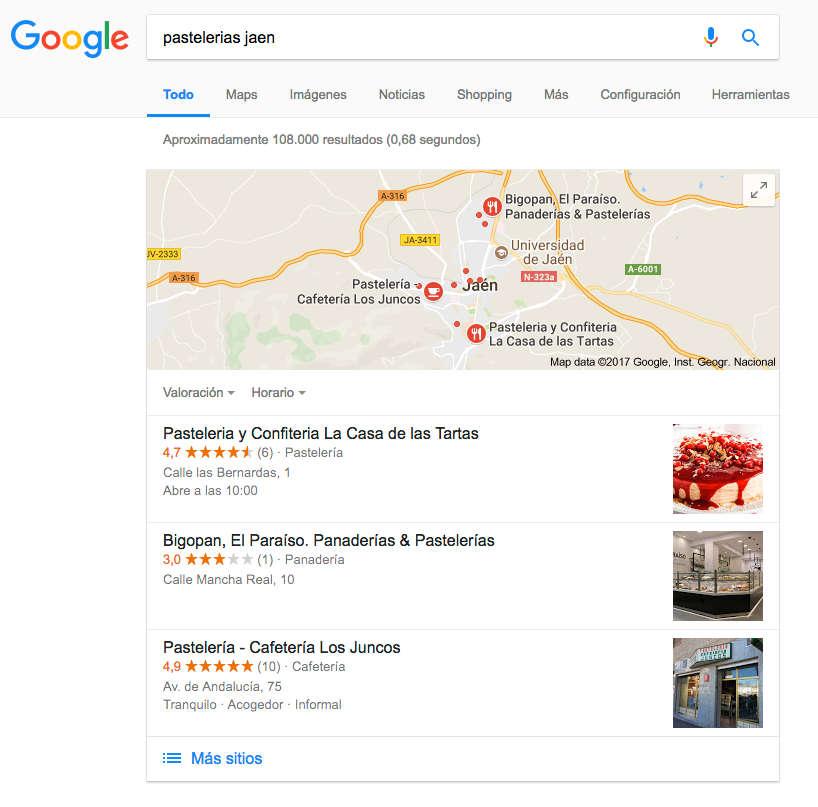 resultados gratis de google