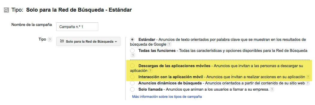 campaña de descargas de aplicaciones en google adwords