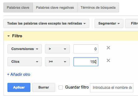 filtros google adwords