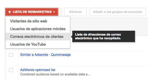 crear lista con emails de clientes google adwords