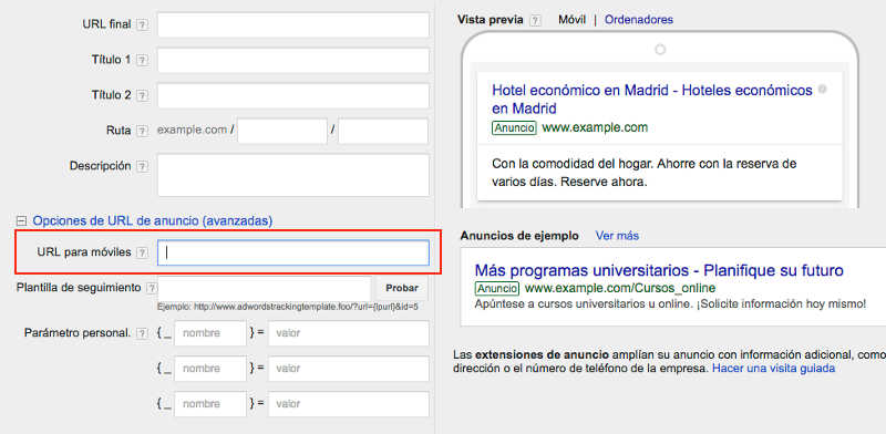 url para moviles en adwords